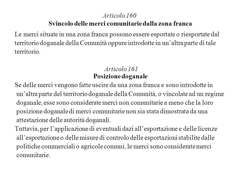 Articolo 160 Svincolo delle merci comunitarie dalla zona franca Le merci situate in una zona franca possono essere esportate o riesportate dal territo