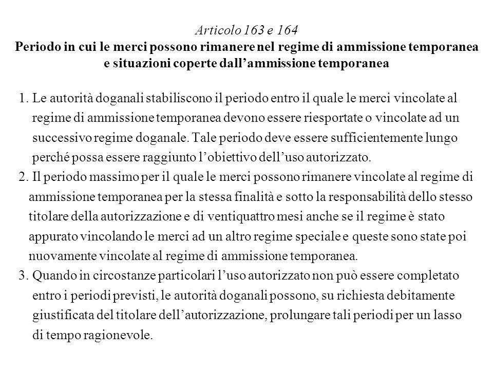 Articolo 163 e 164 Periodo in cui le merci possono rimanere nel regime di ammissione temporanea e situazioni coperte dallammissione temporanea 1. Le a