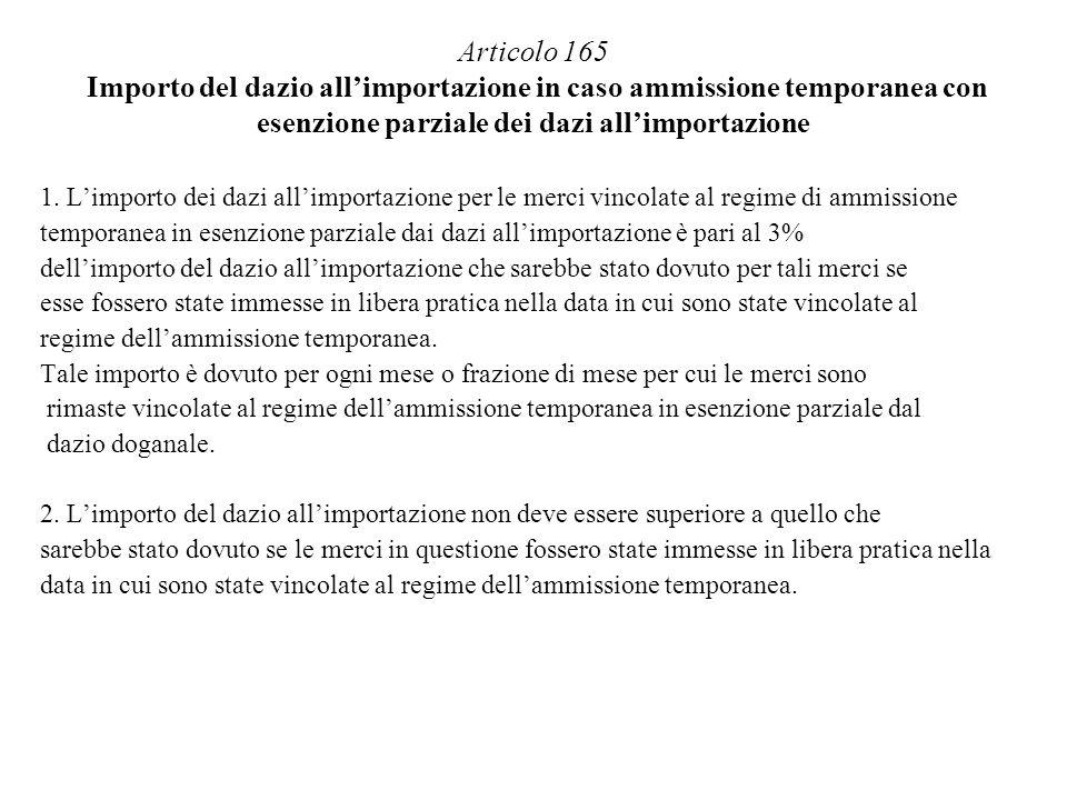 Articolo 165 Importo del dazio allimportazione in caso ammissione temporanea con esenzione parziale dei dazi allimportazione 1. Limporto dei dazi alli