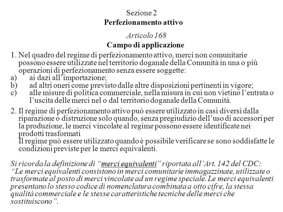 Sezione 2 Perfezionamento attivo Articolo 168 Campo di applicazione 1. Nel quadro del regime di perfezionamento attivo, merci non comunitarie possono