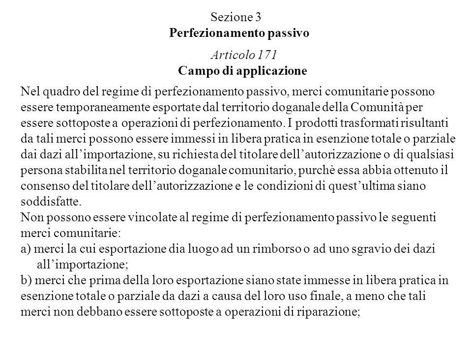 Sezione 3 Perfezionamento passivo Articolo 171 Campo di applicazione Nel quadro del regime di perfezionamento passivo, merci comunitarie possono esser