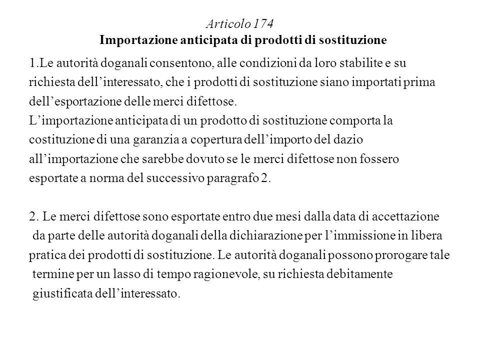 Articolo 174 Importazione anticipata di prodotti di sostituzione 1.Le autorità doganali consentono, alle condizioni da loro stabilite e su richiesta d