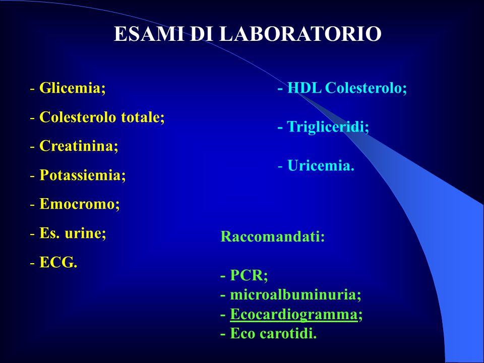 ESAMI DI LABORATORIO - Glicemia; - Colesterolo totale; - Creatinina; - Potassiemia; - Emocromo; - Es. urine; - ECG. - HDL Colesterolo; - Trigliceridi;