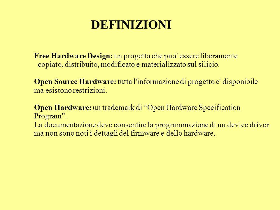 DEFINIZIONI Free Hardware Design: un progetto che puo' essere liberamente copiato, distribuito, modificato e materializzato sul silicio. Open Source H