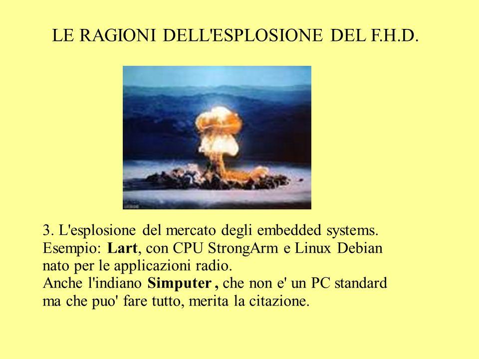 LE RAGIONI DELL'ESPLOSIONE DEL F.H.D. 3. L'esplosione del mercato degli embedded systems. Esempio: Lart, con CPU StrongArm e Linux Debian nato per le