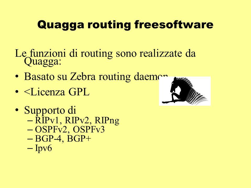 Quagga routing freesoftware Le funzioni di routing sono realizzate da Quagga: Basato su Zebra routing daemon <Licenza GPL Supporto di – RIPv1, RIPv2, RIPng – OSPFv2, OSPFv3 – BGP-4, BGP+ – Ipv6