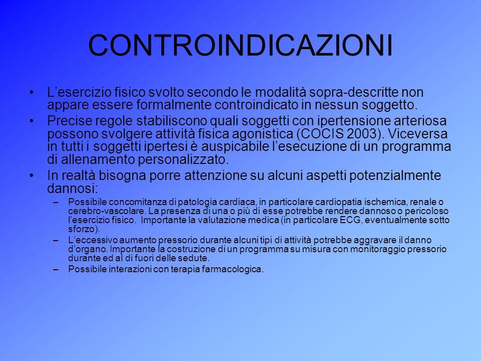 CONTROINDICAZIONI Lesercizio fisico svolto secondo le modalità sopra-descritte non appare essere formalmente controindicato in nessun soggetto. Precis