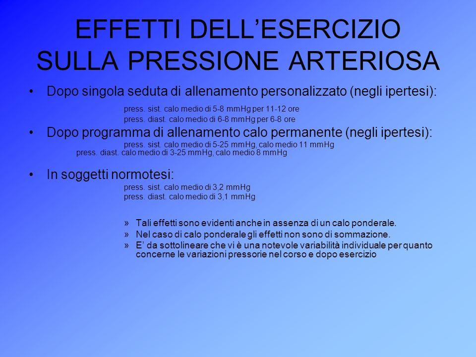 EFFETTI DELLESERCIZIO SULLA PRESSIONE ARTERIOSA Dopo singola seduta di allenamento personalizzato (negli ipertesi): press. sist. calo medio di 5-8 mmH