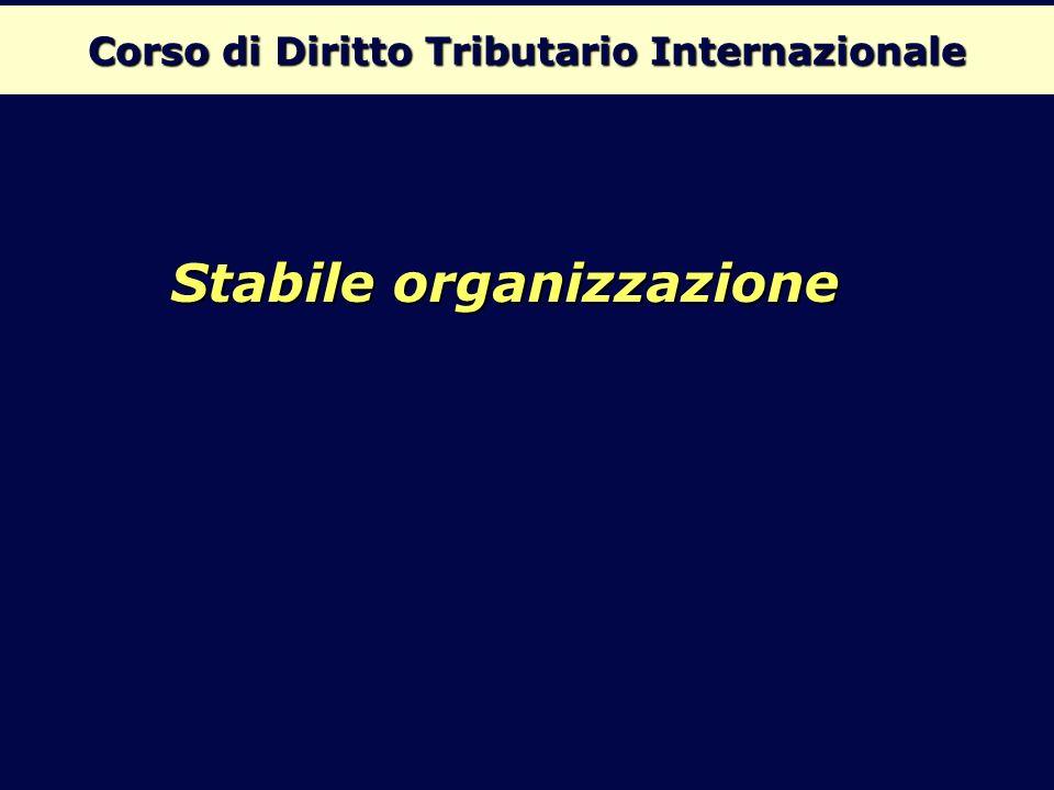 Corso di Diritto Tributario Internazionale Stabile organizzazione