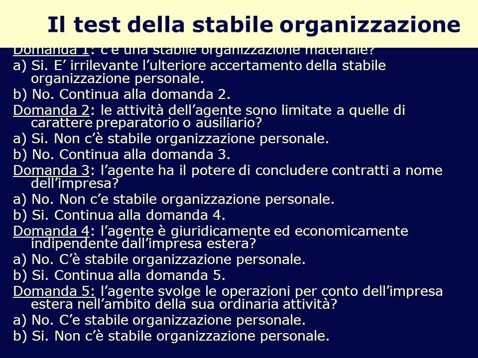 Il test della stabile organizzazione Domanda 1: cè una stabile organizzazione materiale? a) Si. E irrilevante lulteriore accertamento della stabile or