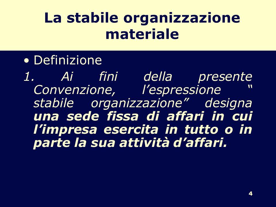 4 La stabile organizzazione materiale Definizione 1. Ai fini della presente Convenzione, lespressione stabile organizzazione designa una sede fissa di