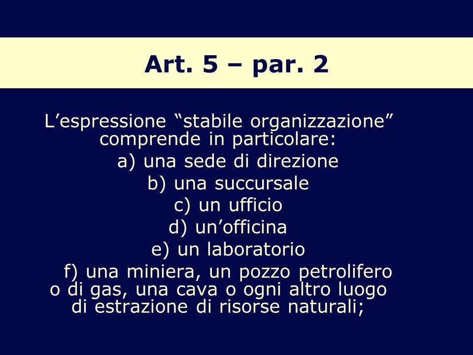 Art. 5 – par. 2 Lespressione stabile organizzazione comprende in particolare: a) una sede di direzione b) una succursale c) un ufficio d) unofficina e