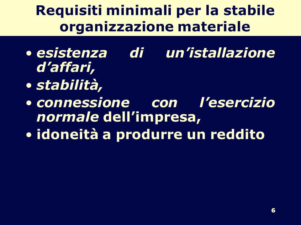 6 Requisiti minimali per la stabile organizzazione materiale esistenza di unistallazione daffari, stabilità, connessione con lesercizio normale dellimpresa, idoneità a produrre un reddito