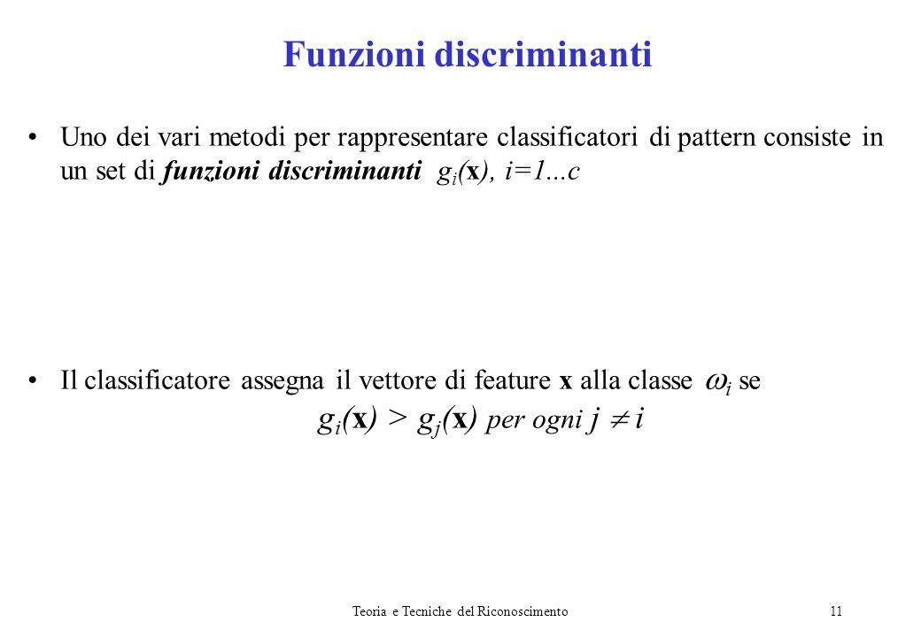 Teoria e Tecniche del Riconoscimento11 Uno dei vari metodi per rappresentare classificatori di pattern consiste in un set di funzioni discriminanti g