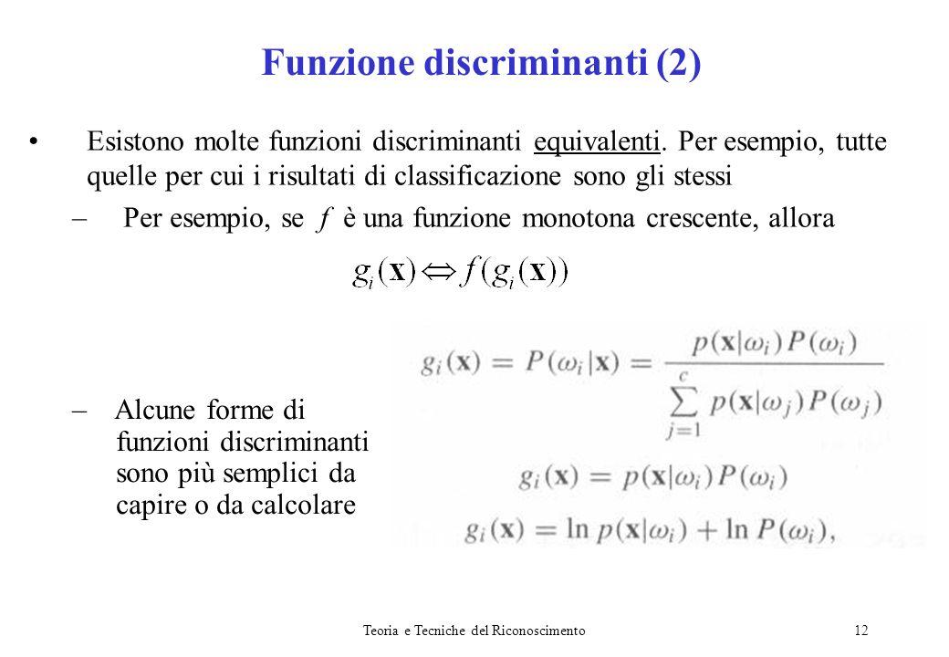 Teoria e Tecniche del Riconoscimento12 Esistono molte funzioni discriminanti equivalenti. Per esempio, tutte quelle per cui i risultati di classificaz