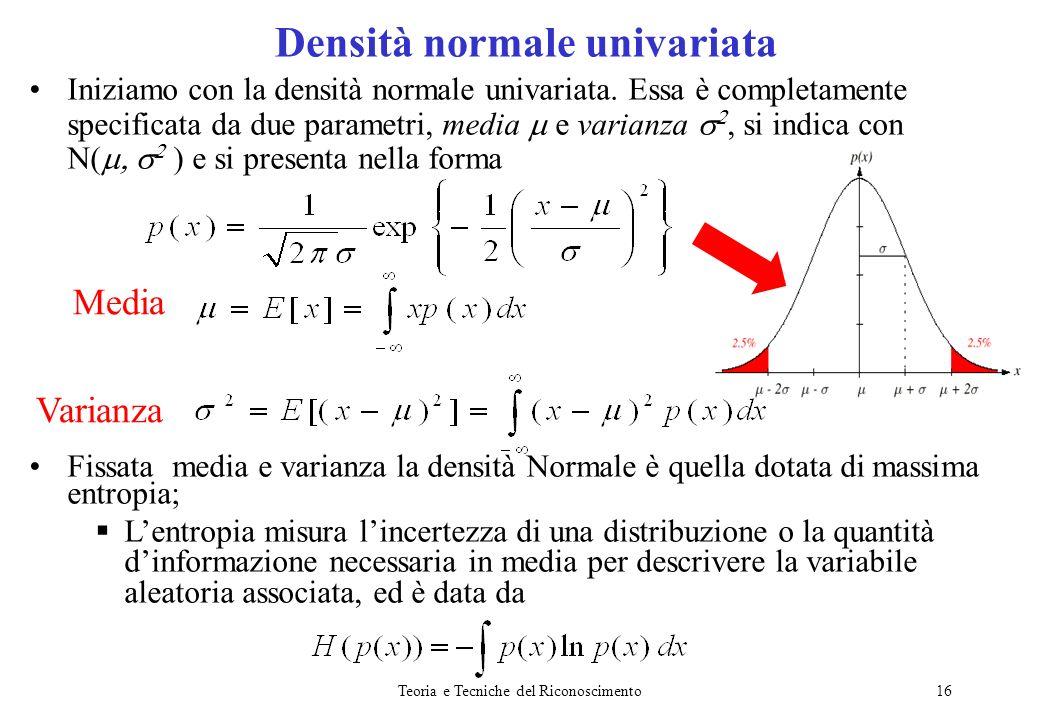 Teoria e Tecniche del Riconoscimento16 Iniziamo con la densità normale univariata. Essa è completamente specificata da due parametri, media e varianza