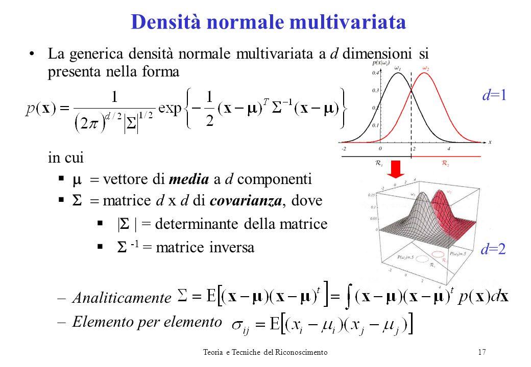 Teoria e Tecniche del Riconoscimento17 La generica densità normale multivariata a d dimensioni si presenta nella forma in cui vettore di media a d com