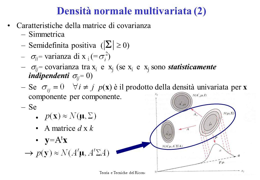 Teoria e Tecniche del Riconoscimento18 Caratteristiche della matrice di covarianza –Simmetrica –Semidefinita positiva ( | | 0) – ii = varianza di x i
