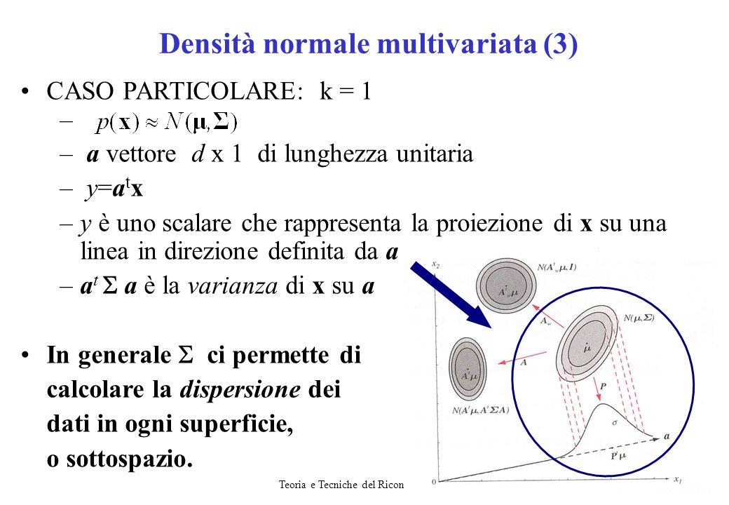 Teoria e Tecniche del Riconoscimento19 CASO PARTICOLARE: k = 1 – – a vettore d x 1 di lunghezza unitaria – y=a t x –y è uno scalare che rappresenta la