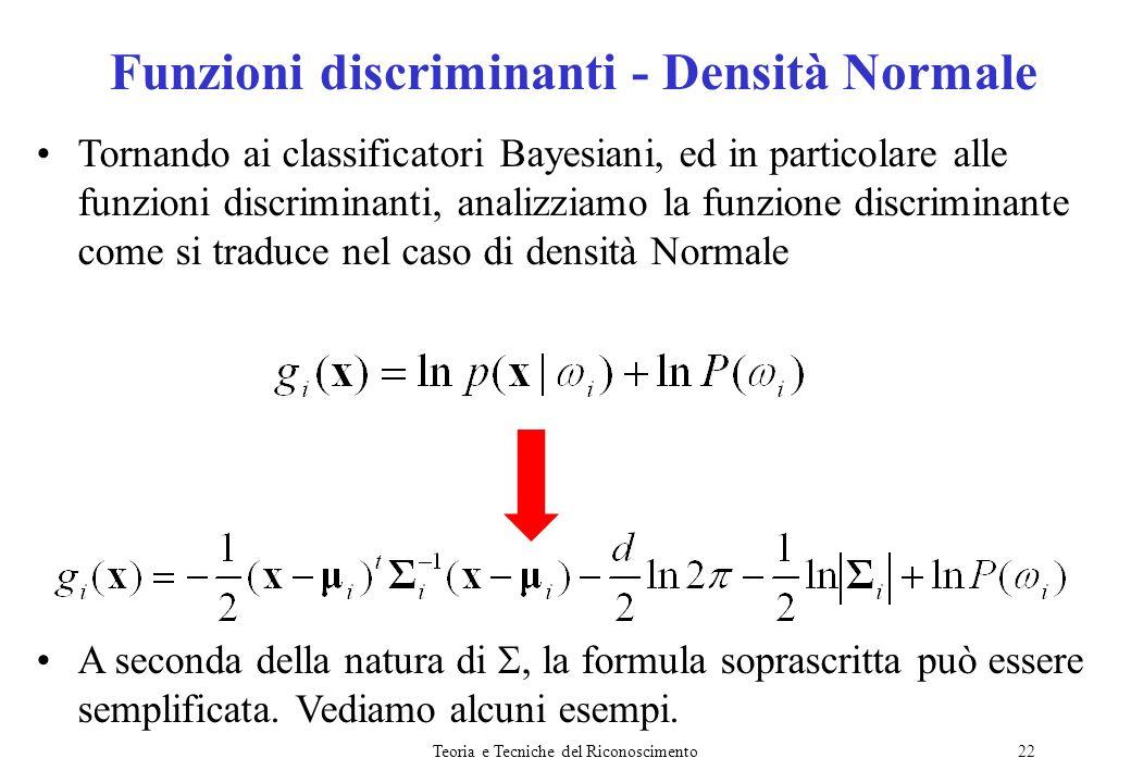Teoria e Tecniche del Riconoscimento22 Tornando ai classificatori Bayesiani, ed in particolare alle funzioni discriminanti, analizziamo la funzione di