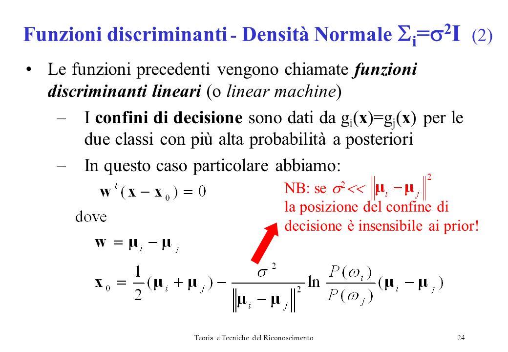 Teoria e Tecniche del Riconoscimento24 Le funzioni precedenti vengono chiamate funzioni discriminanti lineari (o linear machine) –I confini di decisio