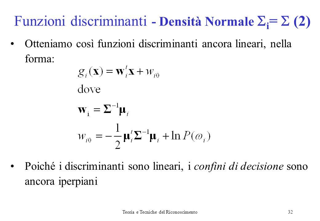 Teoria e Tecniche del Riconoscimento32 Otteniamo così funzioni discriminanti ancora lineari, nella forma: Poiché i discriminanti sono lineari, i confi