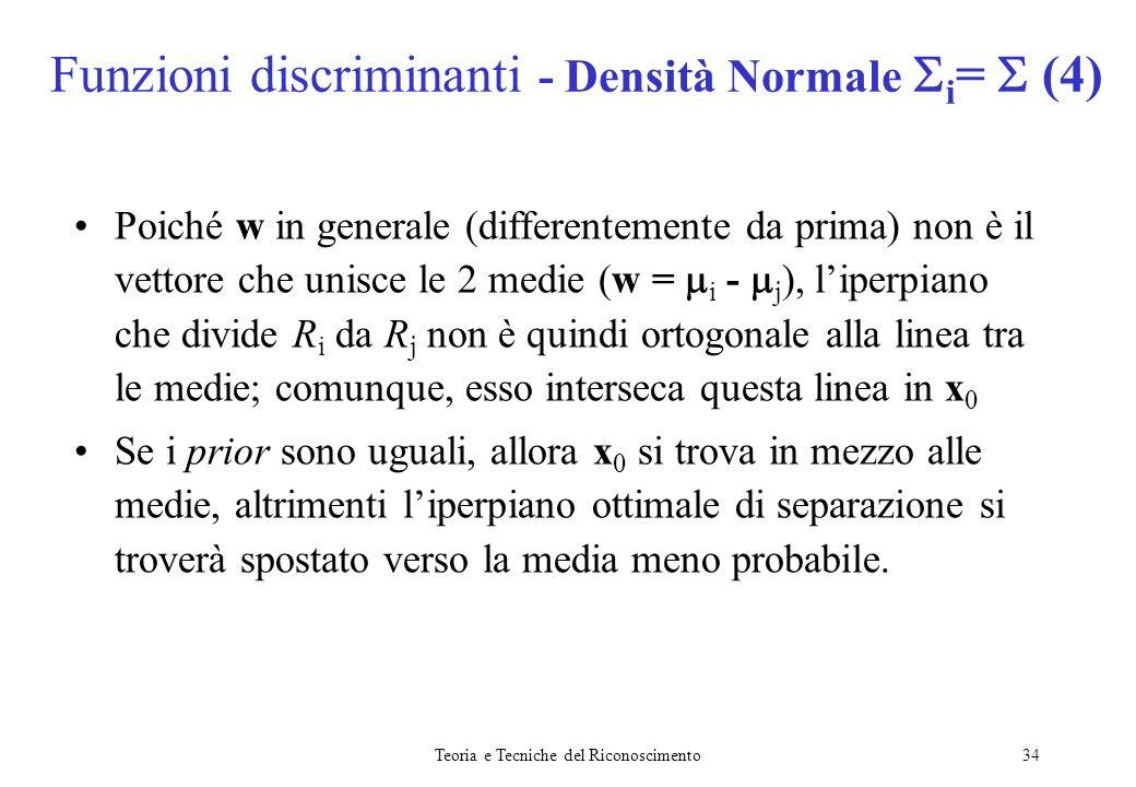 Teoria e Tecniche del Riconoscimento34 Poiché w in generale (differentemente da prima) non è il vettore che unisce le 2 medie (w = i - j ), liperpiano