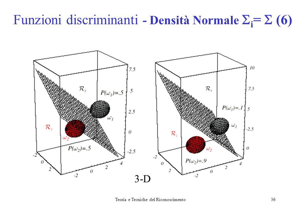 Teoria e Tecniche del Riconoscimento36 Funzioni discriminanti - Densità Normale i = (6) 3-D