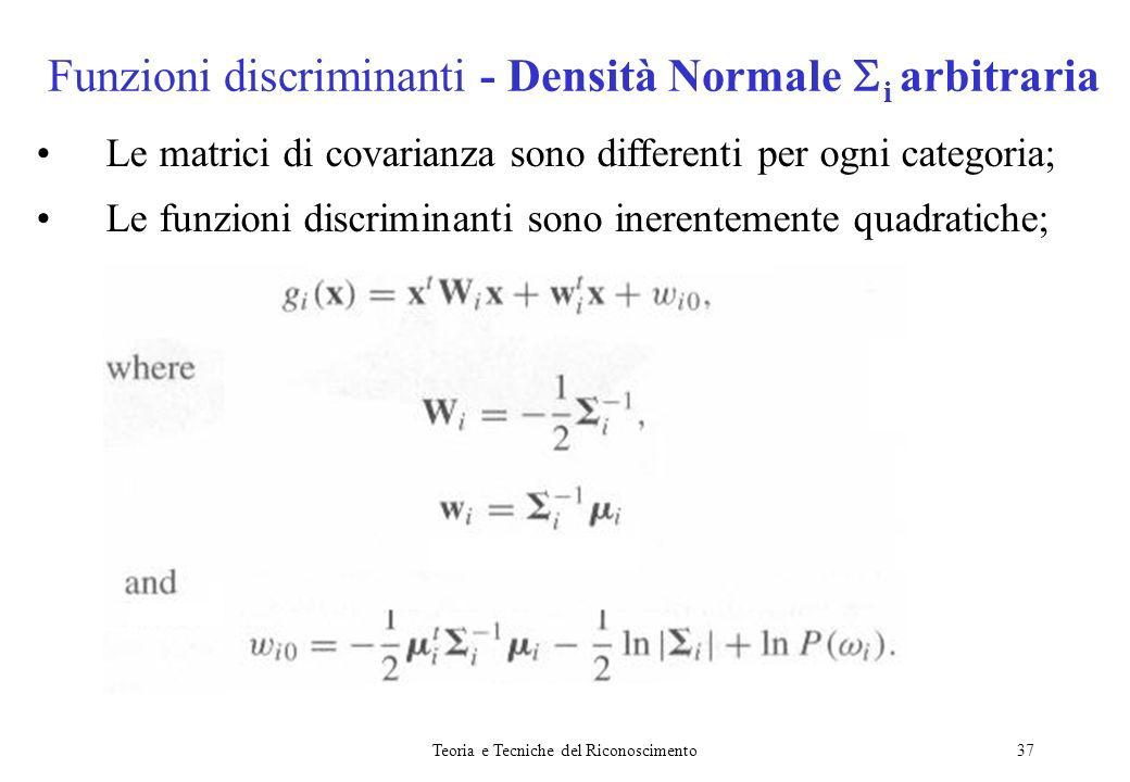 Teoria e Tecniche del Riconoscimento37 Le matrici di covarianza sono differenti per ogni categoria; Le funzioni discriminanti sono inerentemente quadr