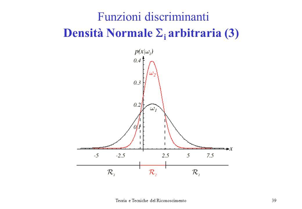Teoria e Tecniche del Riconoscimento39 Funzioni discriminanti Densità Normale i arbitraria (3)