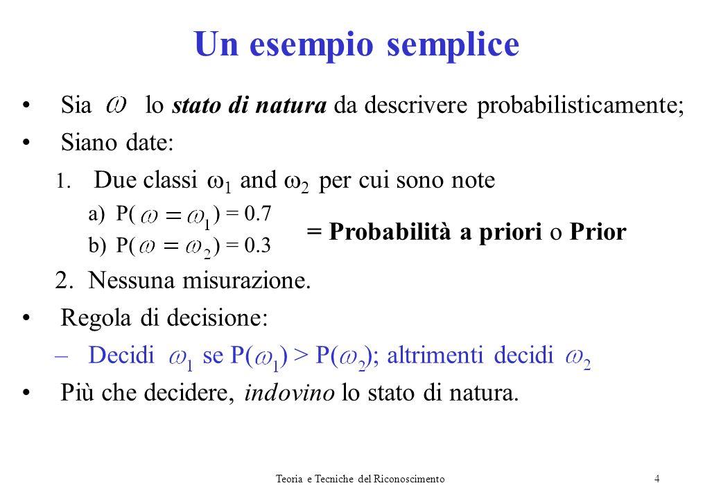 Teoria e Tecniche del Riconoscimento4 Sia lo stato di natura da descrivere probabilisticamente; Siano date: 1. Due classi 1 and 2 per cui sono note a)