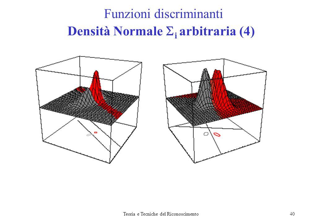 Teoria e Tecniche del Riconoscimento40 Funzioni discriminanti Densità Normale i arbitraria (4)