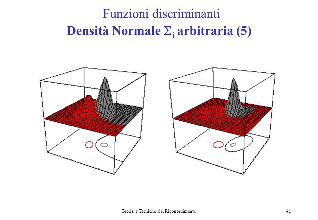 Teoria e Tecniche del Riconoscimento41 Funzioni discriminanti Densità Normale i arbitraria (5)