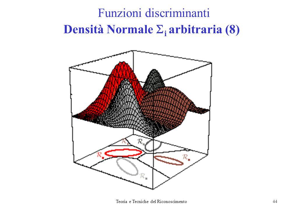 Teoria e Tecniche del Riconoscimento44 Funzioni discriminanti Densità Normale i arbitraria (8)