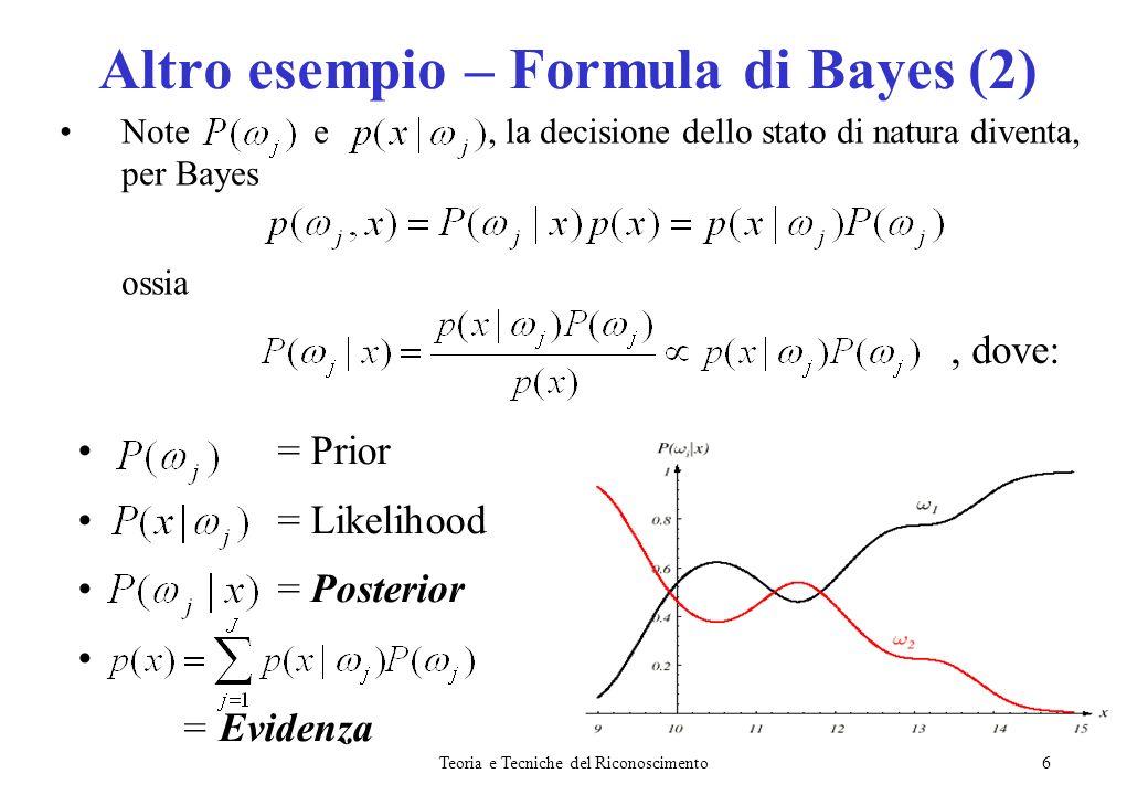 Teoria e Tecniche del Riconoscimento7 Ossia il Posterior o probabilità a posteriori è la probabilità che lo stato di natura sia data losservazione x.
