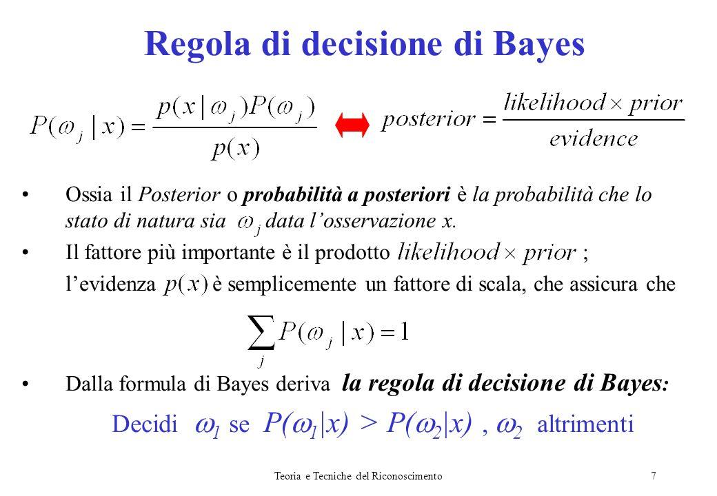 Teoria e Tecniche del Riconoscimento8 Per dimostrare lefficacia della regola di decisione di Bayes: 1)Definisco la probabilità derrore annessa a tale decisione: 2)Dimostro che la regola di decisione di Bayes minimizza la probabilità derrore.