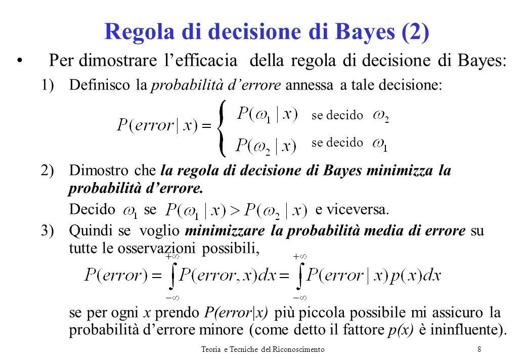 Teoria e Tecniche del Riconoscimento9 In questo caso tale probabilità derrore diventa P(error|x)=min[P( 1 |x), P( 2 |x)]; Questo mi assicura che la regola di decisione di Bayes Decidi 1 se P( 1 |x)> P( 2 |x), 2 altrimenti minimizza lerrore.