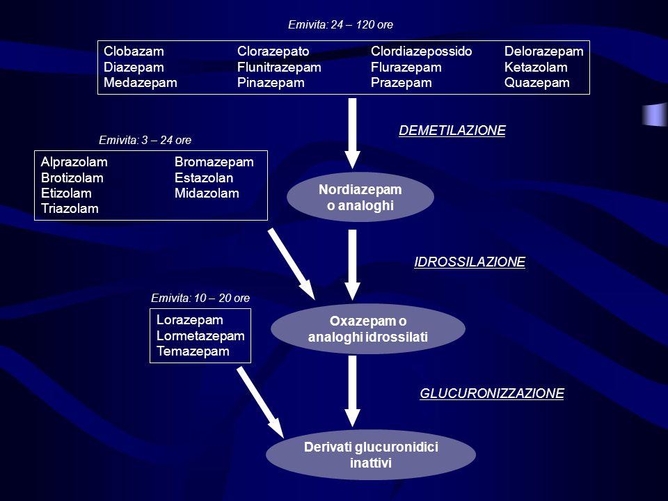 Nordiazepam o analoghi ClobazamClorazepatoClordiazepossidoDelorazepam DiazepamFlunitrazepamFlurazepamKetazolam MedazepamPinazepam PrazepamQuazepam AlprazolamBromazepam BrotizolamEstazolan EtizolamMidazolam Triazolam Emivita: 24 – 120 ore Emivita: 3 – 24 ore DEMETILAZIONE Oxazepam o analoghi idrossilati Derivati glucuronidici inattivi IDROSSILAZIONE GLUCURONIZZAZIONE Lorazepam Lormetazepam Temazepam Emivita: 10 – 20 ore