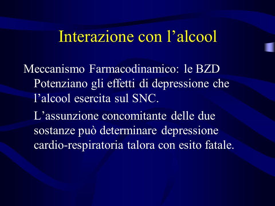 Interazione con lalcool Meccanismo Farmacodinamico: le BZD Potenziano gli effetti di depressione che lalcool esercita sul SNC.