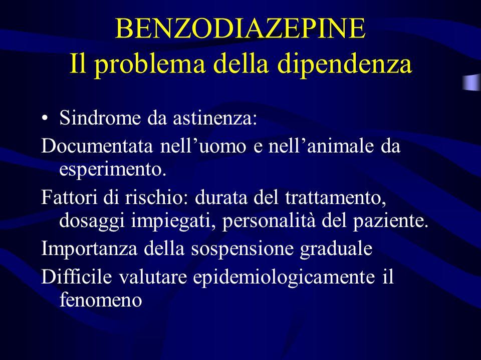 BENZODIAZEPINE Il problema della dipendenza Sindrome da astinenza: Documentata nelluomo e nellanimale da esperimento.