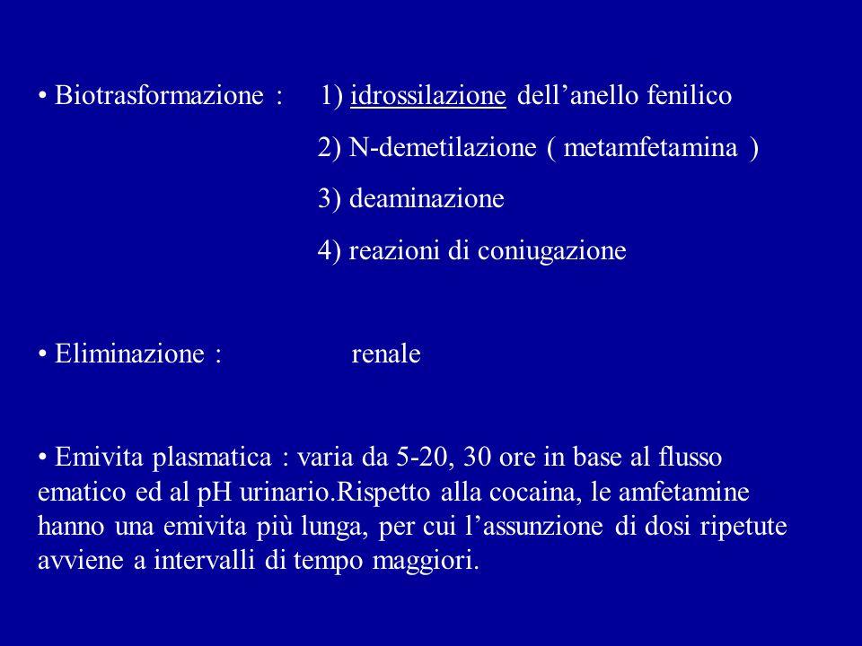 Biotrasformazione : 1) idrossilazione dellanello fenilico 2) N-demetilazione ( metamfetamina ) 3) deaminazione 4) reazioni di coniugazione Eliminazione : renale Emivita plasmatica : varia da 5-20, 30 ore in base al flusso ematico ed al pH urinario.Rispetto alla cocaina, le amfetamine hanno una emivita più lunga, per cui lassunzione di dosi ripetute avviene a intervalli di tempo maggiori.