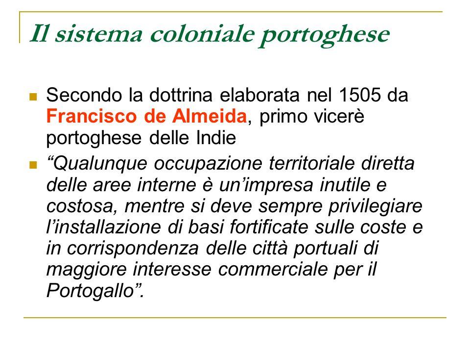 Il sistema coloniale portoghese Secondo la dottrina elaborata nel 1505 da Francisco de Almeida, primo vicerè portoghese delle Indie Qualunque occupazi
