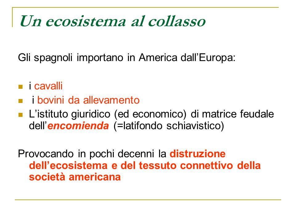 Un ecosistema al collasso Gli spagnoli importano in America dallEuropa: i cavalli i bovini da allevamento Listituto giuridico (ed economico) di matric