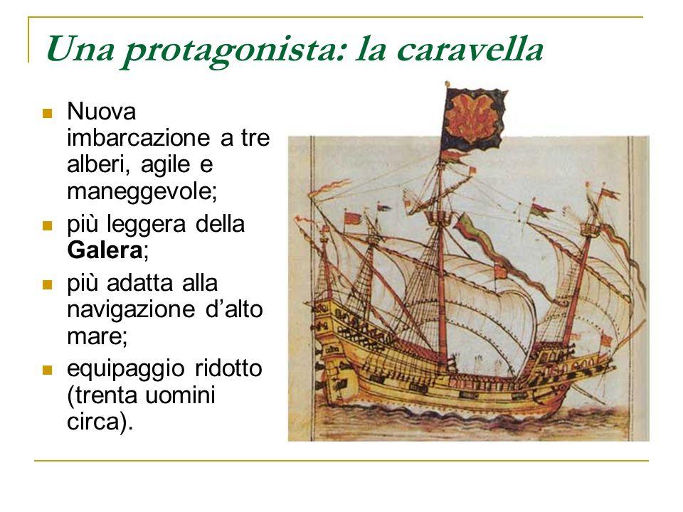 Una protagonista: la caravella Nuova imbarcazione a tre alberi, agile e maneggevole; più leggera della Galera; più adatta alla navigazione dalto mare;