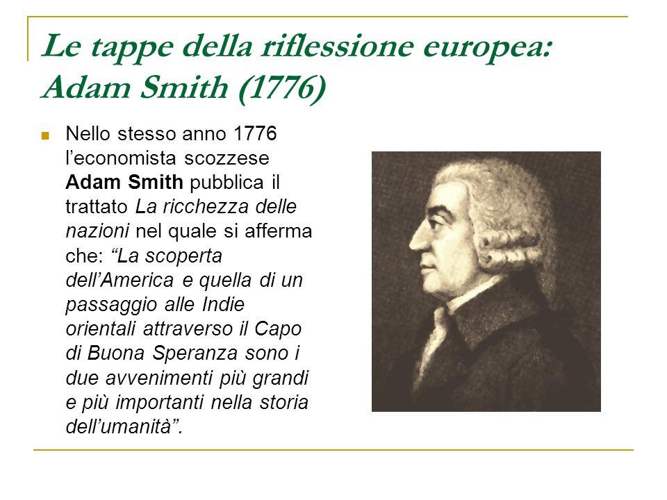 Le tappe della riflessione europea: Adam Smith (1776) Nello stesso anno 1776 leconomista scozzese Adam Smith pubblica il trattato La ricchezza delle n