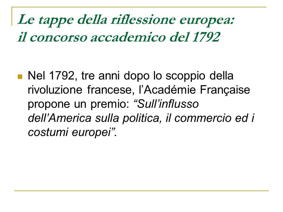 Le tappe della riflessione europea: il concorso accademico del 1792 Nel 1792, tre anni dopo lo scoppio della rivoluzione francese, lAcadémie Française
