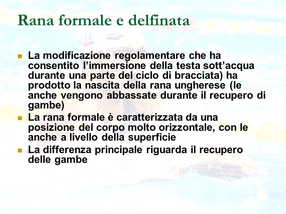 Rana formale e delfinata La modificazione regolamentare che ha consentito limmersione della testa sottacqua durante una parte del ciclo di bracciata)