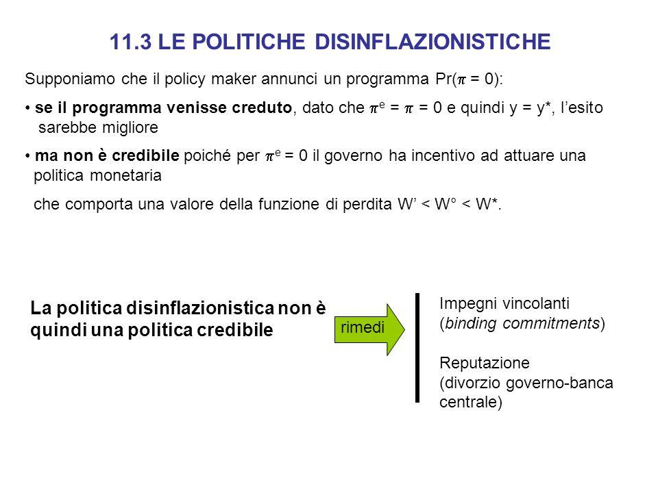 Supponiamo che il policy maker annunci un programma Pr( = 0): se il programma venisse creduto, dato che e = = 0 e quindi y = y*, lesito.. sarebbe migl