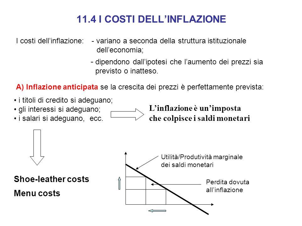 I costi dellinflazione: - variano a seconda della struttura istituzionale delleconomia; - dipendono dallipotesi che laumento dei prezzi sia previsto o