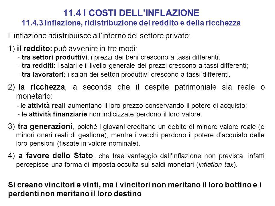 11.4 I COSTI DELLINFLAZIONE 11.4.3 Inflazione, ridistribuzione del reddito e della ricchezza Linflazione ridistribuisce allinterno del settore privato